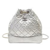 CHANEL 香奈兒 銀色菱格抓皺牛皮金銀鍊後背包 Chanel s Gabrielle Backpack BRAND OFF