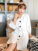 氣質洋裝女夏季2018新款韓版排扣慵懶風chic極簡主義imiss裙子