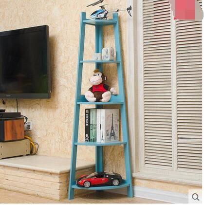 瑞美特臥室轉角書架角落架客廳置物架花架梯形牆角置物架現代簡約 五層角落架藍色