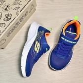 《7+1童鞋》SKECHERS 透氣輕量大底 慢跑鞋 運動鞋 D945 藍色
