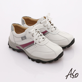 A.S.O 前彈性後避震 牛軟皮綁帶奈米休閒鞋 白