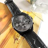 TOMMY HILFIGER / 1710452 / 三眼三針 紳士潮流 鏤空設計 星期日期 壓紋真皮手錶 黑色 44mm