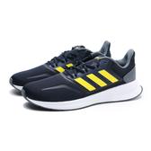 ADIDAS 休閒鞋 慢跑鞋 RUNFALCON 深藍 螢光 黃 網布 輕量 透氣 男 (布魯克林) EG8611