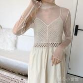 蕾絲上衣秋新款很仙的圓點網紗打底衫女長袖百搭蕾絲透視內搭薄紗上衣 育心小館