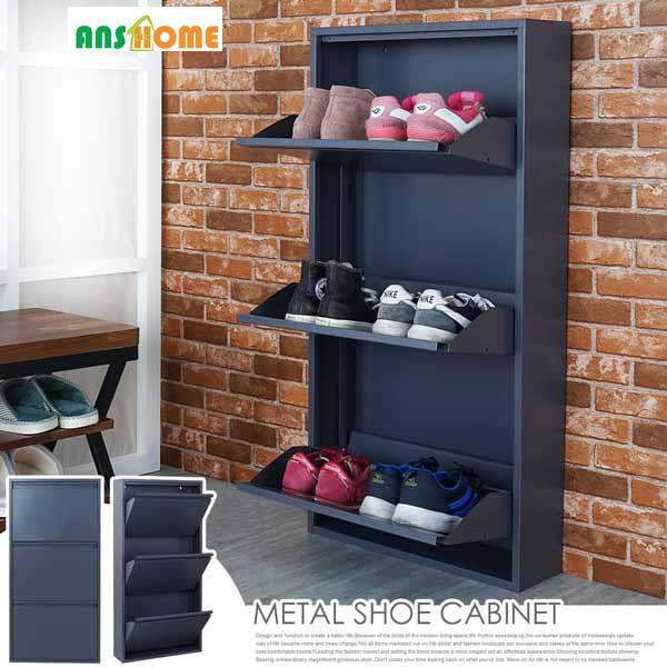 《AnsHome》現代風三層直立鞋櫃(兩色)