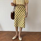 春夏新款韓版氣質高腰鬆緊波點點點開岔半身裙及膝裙長裙/共二色(Q20266)