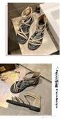 快速出貨 網紅涼鞋女超火平底仙女風學生2020新款潮時尚交叉綁帶羅馬鞋  【快速出貨】