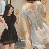短袖洋裝夏季蕾絲連身裙中長款女裝新品網紗鉤花韓版夏季短袖打底裙 萊俐亞美麗