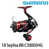 漁拓釣具 SHIMANO 18 SEPHIA BB C3000SHG (紡車捲線器/單手把)