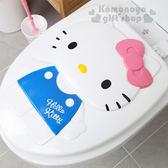 〔小禮堂〕Hello Kitty 硬式裝飾馬桶蓋《白.藍吊帶褲.粉蝴蝶結》立體圖案 8805830-08999