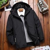 登山服 戶外沖鋒衣男女秋冬三合一兩件套可拆卸加絨加厚外套西藏行潮服嬡孕哺 618購物