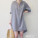 棉麻洋裝 大碼女裝連身裙夏新款棉麻條紋襯衫裙中長款五分袖設計感小眾 韓菲兒