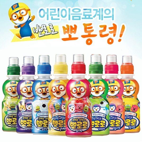【麻吉熊】韓國 Pororo 啵樂樂乳酸飲料--草莓/蘋果/熱帶水果/牛奶/藍莓(235 ml/罐)