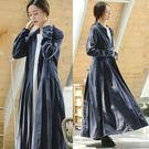 外套-肌理亞麻過膝長版風衣石藍色/設計家 F8904