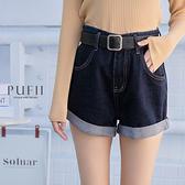 PUFII-短褲 下反摺牛仔褲短褲(附皮帶)-1012 現+預 秋【CP21110】