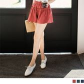 《BA4097》全鬆緊腰頭荷葉滾邊純色短褲裙 OrangeBear
