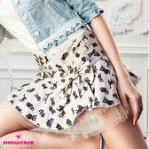 【SHOWCASE】俏麗貓咪印花蕾絲襬層次短裙(粉)