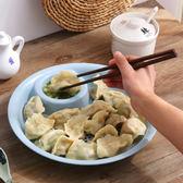 創意餐具帶醋碟餃子盤餐盤廚房家用瀝水塑料大號水餃盤子菜盤碟子  檸檬衣舍