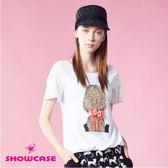 【SHOWCASE】時尚背影馬尾女孩接蕾絲雪紡袖T恤(白)