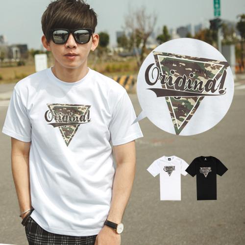 T恤 Original三角迷彩文字短T【NB0475J】