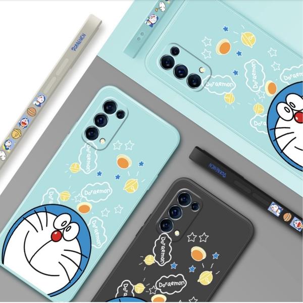 歐珀 OPPO Reno5 Reno4 pro Reno2 Z 10倍變焦 側邊彩繪叮噹貓 全包鏡頭 液態矽膠軟殼 全包 手機殼