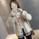 VK精品服飾 韓國風口袋毛衣V領外搭針織單品外套