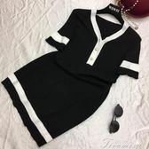 夏季新品 韓版名媛風氣質V領金扣修身短袖針織百搭洋裝連身裙  中秋節下殺