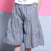 Mini Jule 女童  褲裙 條紋拼接蛋糕鬆緊五分褲裙(灰)