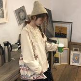 女士襯衫 韓版冬季百搭可愛上衣蕾絲娃娃領襯衫女裝寬鬆長袖襯衣潮 伊韓時尚