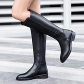 真皮長筒靴 手工鞋  圓頭 騎士靴 牛皮長靴/4色-標準碼-夢想家-1114