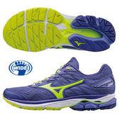 【超低價】MIZUNO WAVE RIDER 20 WIDE 寬楦慢跑鞋 藍紫X螢光綠 J1GD170644 女鞋