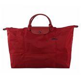【LONGCHAMP】短把XL號騎士LOGO折疊旅行包(紅酒色) 1625 619 C87