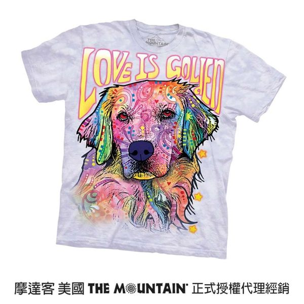 【摩達客】(預購)美國進口The Mountain 彩繪愛是黃金獵犬 純棉環保短袖T恤(10416045125a)