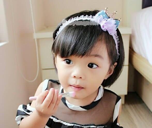 手工髮帶 天鵝絨髮帶雪紡皇冠款兒童 寶寶 嬰兒 彈性髮帶 拍照 彌月 寫真  果漾妮妮【P3956】