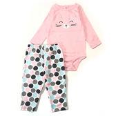 Carter s 長袖套裝 後扣包屁衣+長褲二件組粉色貓咪 女寶寶【CA121H705】