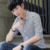 短袖格紋襯衫男中袖時尚條紋印花襯衣修身上衣《印象精品》t332