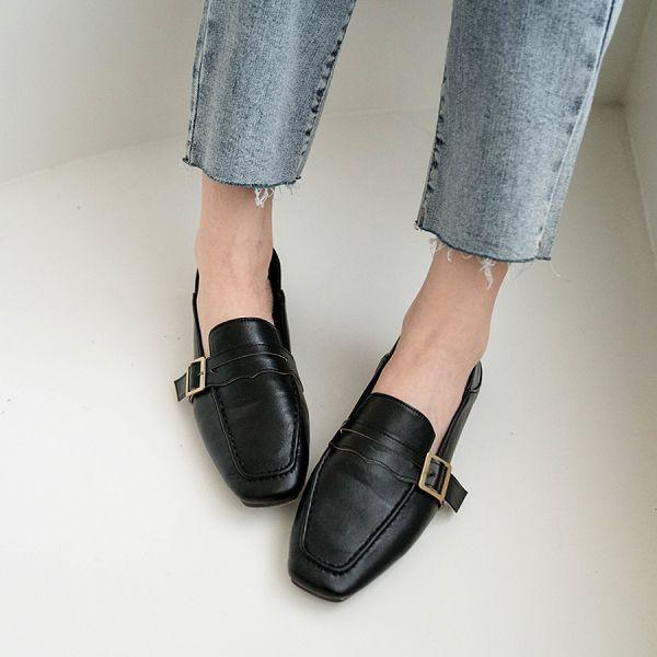 MIUSTAR 好穿軟皮革!方頭釦帶皮質樂福鞋(共3色,36-40)【NJ0982ZP】預購