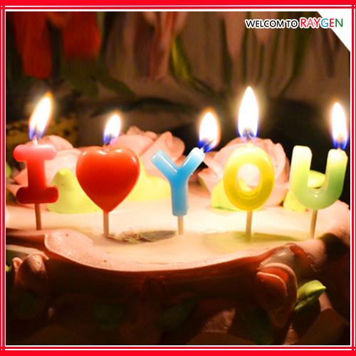 蛋糕蠟燭 I Love You 浪漫情人節字母蠟燭 5支裝