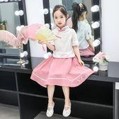 女童漢服唐裝2019新款短袖女孩中大童古裝兒童旗袍表演服童裙夏裝 童趣