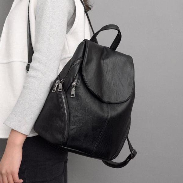 後背包女正韓個性百搭書包旅行包包潮時尚pu軟皮休閒背包