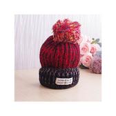 毛帽 撞色 拼接 毛球 反褶 貼布 針織 毛帽【QI1637】   icoca