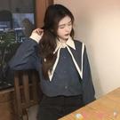雪紡衫 襯衫女裝設計感小眾新款雪紡衫2021春秋季娃娃領時尚潮長袖上衣服 愛丫 新品