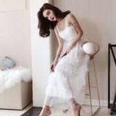 露肩洋裝 性感洋裝夏裝新款低胸純色露肩吊帶拼紗燙金中長款大擺裙潮 唯伊時尚