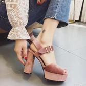 包鞋 時尚系扣高跟鞋 跟高約11CM 氣質女人粗跟女鞋 瑪麗蘇