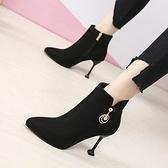 時尚短靴 性感尖頭短靴女秋冬新款ins瘦瘦靴小跟時尚祼靴馬丁靴女 新年禮物