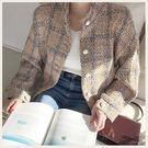 ✦Styleon✦正韓。秀氣珍珠釦排釦無領格紋短版小外套。韓國連線。韓國空運。1031。