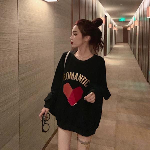 清倉288 韓國風寬鬆顯瘦慵懶心形長袖上衣