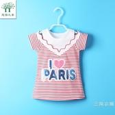 短袖新款女寶寶T恤洋裝夏裝一3二4三5四五歲女童夏款短袖裙兒童條紋