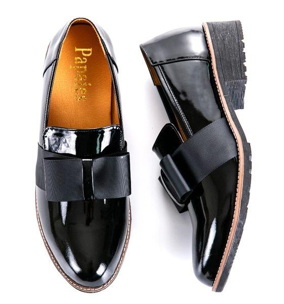 MIT*(橡膠底)緞帶款/進口漆皮/手工鞋-55822 黑 -papaies 氣墊鞋 (全真皮)