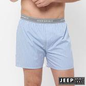 【JEEP】五片式剪裁 純棉平口褲(淺藍條紋)